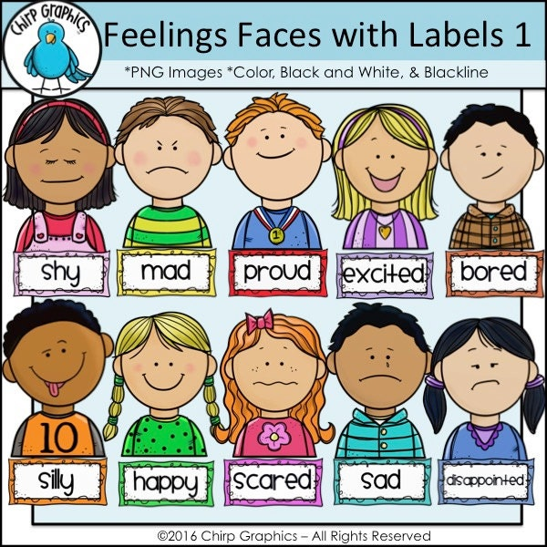 Children Feelings Faces And Labels Clip on Environment Worksheets For Kindergarten
