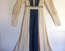 Vintage 60s Hippie Wedding Dress Ocean Blue Velvet Lace Up Chest Size 4 6 Gunne Sax Style Rustic Wedding
