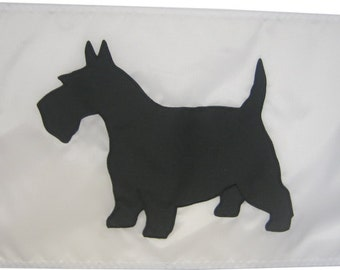 "Scottish Terrier Dog: 12""x18"" High Quality Handsewn Appliqued Flag"