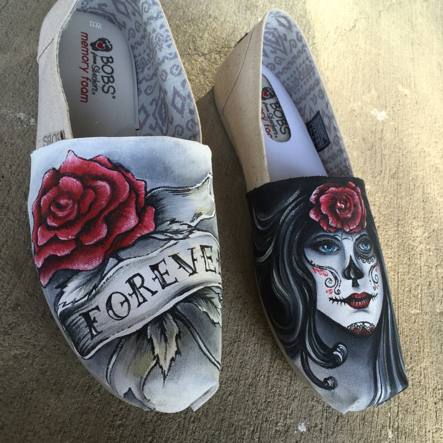 Day Of The Dead Hand Tattoo: Hand Painted Day Of The Dead Tattoo Style Shoesdia De Los