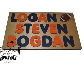 The 12th Man Wooden Puzzle with (3) Three Names and a Football id257313097