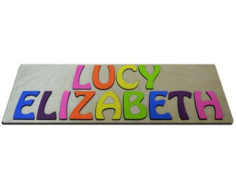 Hand Crafted Personalized Wooden Name Puzzles 2 Names Child's Name, Custom Made Puzzle From Wood Two Word id247503740