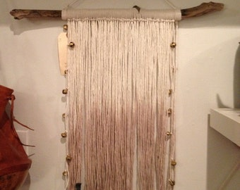 Home Decor Wall Hanging: Driftwood and Natural and Brown ombré dyedString with vintage Bells from India.