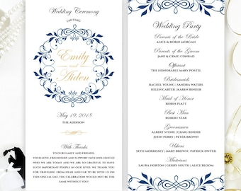 Ceremony Programs For Wedding Gold Damask
