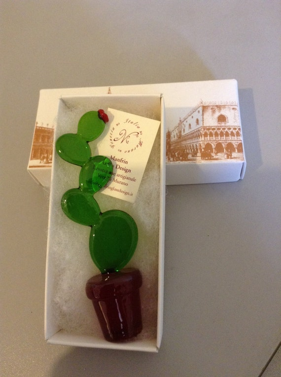 Beautiful ornament in the shape of a cactus plant MADE IN ITALY in authentic Murano glass, in various shapes and shades