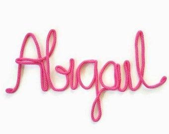 7 Letter Name, Wire Wall Art, Name Art Nursery, Personalized Nursery Decor, Nursery Wall Art Girl, Wire Sign, Yarn Art, Baby Girl Nursery