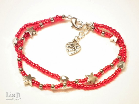 Silver stars bracelet, rocaille beads bracelet, red and silver bracelet, christmas gift