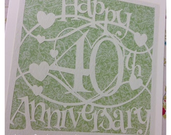 Happy 40th Anniversary Paper Cutting Template - Commercial Use