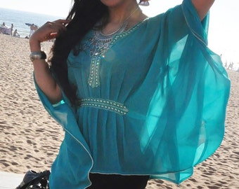 Turquoise green cover up-holiday wear resort tunic , beachwear, beach wedding, maternity, shirt, gifts moroccan caftan