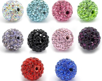 10 Mixed Dense Rhinestone Round Beads 10mm