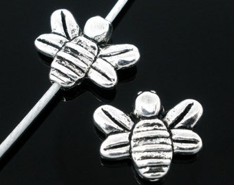 50 Silver Tone Bee Spacers Beads 14x12mm Findings
