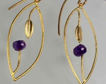Amethyst Leaf Cage,Vermeil Gold filled,Everyday Wear