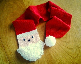 Fun child's Santa Scarf with white beard