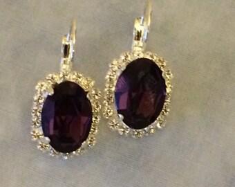 Amethyst Swarovski Oval Drop Earrings, purple wedding earrings, bridesmaid earrings, bridesmaid gift, bridal earrings, large oval earrings,