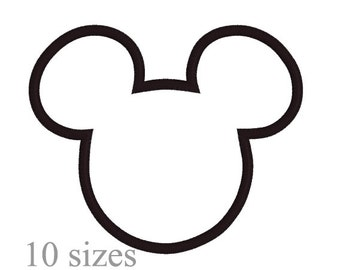 Mouse applique design,  Mouse embroidery, Mickey Mouse applique design, 10 sizes,  Instant download