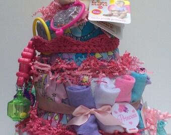 Princess themed Baby Diaper Cake Diapercake BabyShower Gift Centerpiece