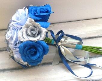 Wedding Bouquet, Bridesmaids Bouquet, Paper Bridesmaids Bouquet, Bridal Bouquet, Paper Bridal Bouquet, Blue Roses Bouquet, Royal Blue Roses