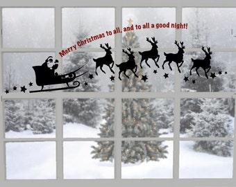 Santa's Sleigh, Christmas Vinyl Window Decal