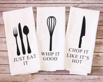 Set of 3 - Funny Song Lyric Tea Towels - Flour Sack Towels - Just Eat It - Dish Towel - Funny Kitchen Towels - Christmas Gift - Unique Gift