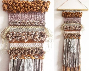 "Handwoven Wall Hanging / Tapestry Weaving 7"" x 30"" (""Five String Serenade"")"