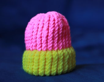 Knitted Baby Hat in Neon Pink and Yellow