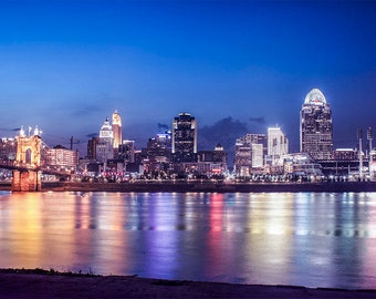 Cincinnati Cityscape, urban landscape photography, Downtown Cincinnati art, Ohio River, city photography, City Living, Reflective Lights