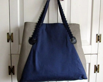 Large Blue and Tweed expandable bag