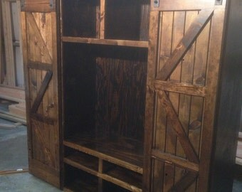 Entertainment Center, Barn Door, TV Stand, Living Room, Storage, Sliding Door, Game Center