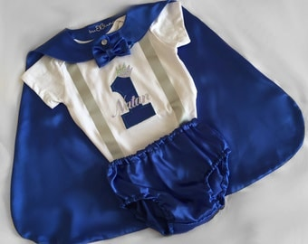 Baby Boy Blue 1st Birthday Outfit, Royal Blue Little Prince, Baby Boy 1st Birthday Outfit, Cake Smash Prop, Birthday Prince, Photoshoot Prop
