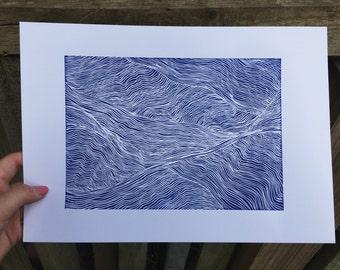Navy Blue Minimal Waves Lino Original Prints-  Fine Line Design - A4 unframed