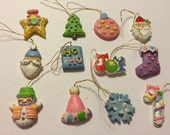 Christmas Miniatures, Ornaments, 12 Figurals, Santa, Christmas Tree, Winter Holidays, Snowman, Wreath, Decorations, Stocking, Retro, #GA1015