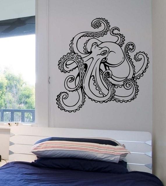 octopus wall decal version 2 vinyl sticker art decor bedroom. Black Bedroom Furniture Sets. Home Design Ideas