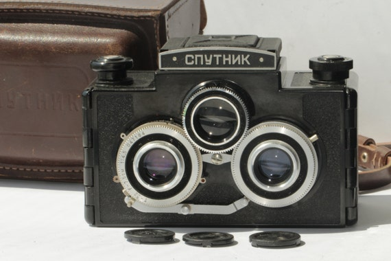 LOMO Sputnik Vintage Medium Format Stereo Camera 120 roll film Soviet ж