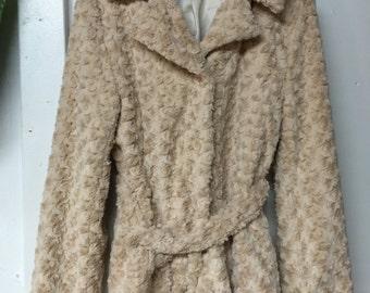 Coat Faux Fur Tan Women's