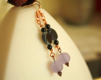 Czech glass earrings black onyx earrings Lavender drop earrings dangle earings boho-chick earrings boho earrings