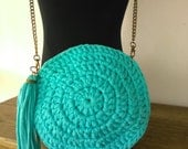 Round Purse/bag turquoise -Crossbody- Round Crochet