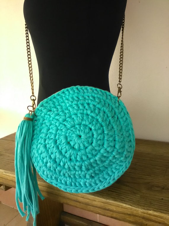 Round Purse Bag Turquoise Crossbody Round Crochet