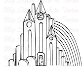 Digital stamp colouring image - OZ Emerald City. jpeg / png