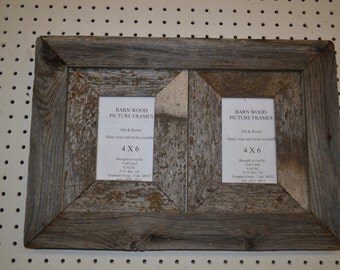 Rustic Barnwood 4 X 6 (2) Place Collage Barn Wood Picture Frame