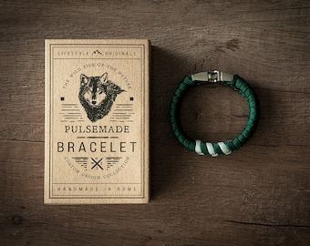 Men's bracelet-emerald green woman > > > Silver Grey Unisex-Handmade Pulsemade paracord Mens bracelet/Womens Emerald > > > Silver Grey