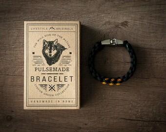 Men's bracelet-black woman///unisex mustard in Paracord 550-Handmade Pulsemade paracord Mens bracelet-Womens black///Goldenrod