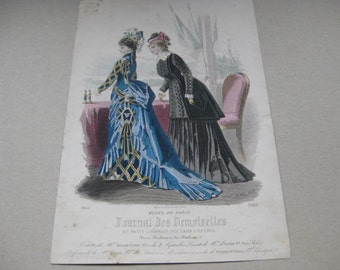 "Antique Fashion Drawing ""Journal Des Demoiselles""  Edited end 19e century."