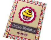 Cupcake Birthday Card, Customizable, Colorful Card with Glitter, Scrapbook Paper, For Woman, Wife, Mother, Child, Girl, Teen, Friend, Bestie