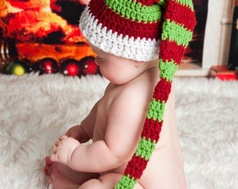 Striped Christmas Elf Hat - Christmas Photo Prop - Christmas - Santa Hat - Elf Hat - Crochet Winter Hat - Christmas in July - Holiday Hat