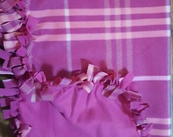 Fleece Blanket, Knotted Blanket, Tie Blanket Purple Blanket, Plaid Blanket, Girl Blanket, Stroller Blanket, Car Seat Blanket, Baby Blanket