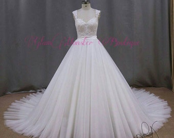 Handmade Couture Dentelle Gown w/ Royal Princess Dentelle Bridal Veil