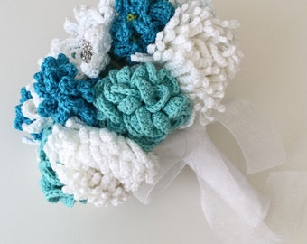 Blue Crochet Wedding Bouquet, Aqua Artificial Flowers, Turquoise Alternative Wedding Flowers, White Bridal Brooch Bouquet, Chrysanthemum