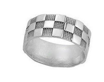 Silver checker ring for men