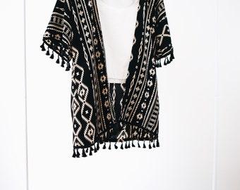 Black Aztec Print Kimono