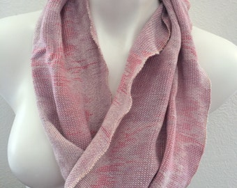 Hand-dyed, handwoven rayon infinity scarf in pinks-SIS2